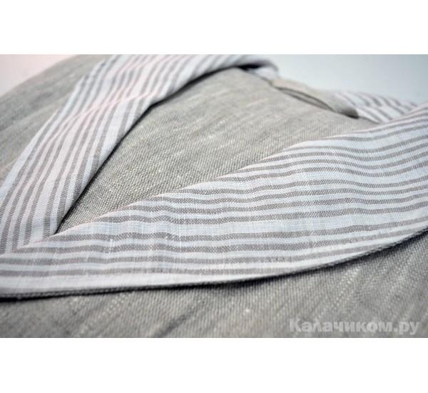 Халат для бани льняной с капюшоном Серый