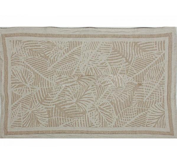 Полотенце льняное  умягченное Резные листья-3