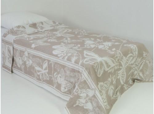 Простыня лен с хлопком махровая Бабочки - 6С101