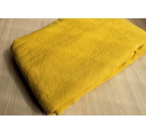 Пододеяльник  льняной умягченный цвет горчица