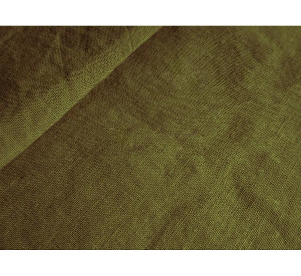 Пододеяльник  льняной цвет хаки умягченный