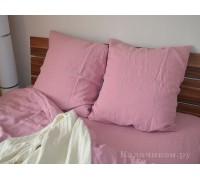 Наволочка льняная  пепельно-розовая умягченная